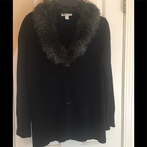 COLDWATER CREEK CARDIGAN SWEATER WITH FAUX FUR